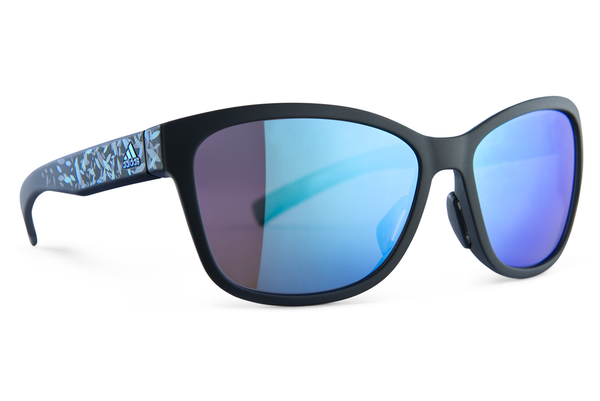 Adidas - Excalate Black Matte Floral Blue  Sunglasses, Blue Mirror Lenses