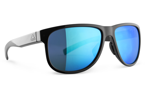 Adidas - Sprung Black Shiny / Blue Sunglasses, Blue Mirror Lenses