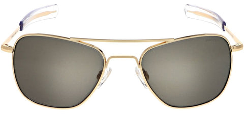 Randolph - Aviator 58mm 23K Gold Bayonet Temple Sunglasses / SkyTec American Gray Lenses