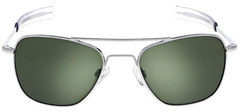 Randolph - Aviator 55mm Bright Chrome Bayonet Temple Sunglasses / SkyForce American Gray Lenses