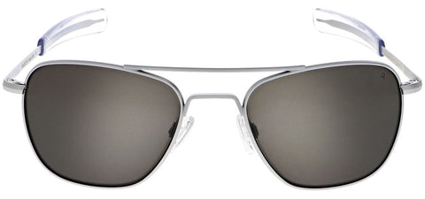 Randolph - Aviator 58mm Matte Chrome Bayonet Temple Sunglasses / SkyTec Polarized American Gray Lenses