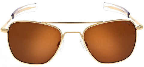 Randolph - Aviator 58mm 23K Gold Bayonet Temple Sunglasses / SkyTec Polarized American Tan Lenses