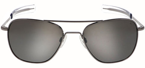 Randolph - Aviator 55mm Gunmetal Bayonet Temple Sunglasses / SkyTec Polarized Granite Lenses