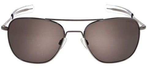Randolph - Aviator 55mm Gunmetal Bayonet Temple Sunglasses / SkyForce American Gray Lenses
