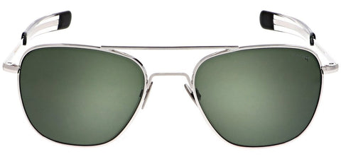 Randolph - Aviator 55mm 23K White Gold Bayonet Temple Sunglasses / SkyTec Polarized AGX Lenses