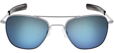 Randolph - Aviator 55mm Matte Chrome Bayonet Temple Sunglasses / SkyTec Polarized Cobalt Lenses