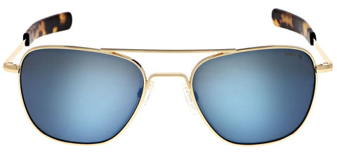 Randolph - Aviator 55mm 23K Gold Bayonet Temple Sunglasses / SkyTec Polarized Cobalt Lenses