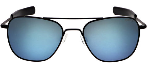 Randolph - Aviator 55mm Matte Black Bayonet Temple Sunglasses / SkyTec Polarized Cobalt Lenses