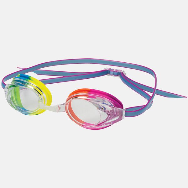 Leader - Zenith Adult Narrow Fit Intermediate Series Rainbow Swim Goggles / Clear Lenses