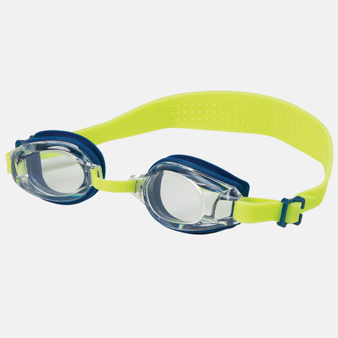 Leader - Angelfish Ages 7+ Recreational Series Blue Lime Green Swim Goggles / Clear Lenses