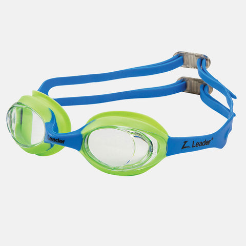 Leader - Atom Ages 3-6 Intermediate Series Blue Lime Green Swim Goggles / Clear Lenses