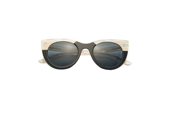 Kyme - Angel White Striped & Black Sunglasses