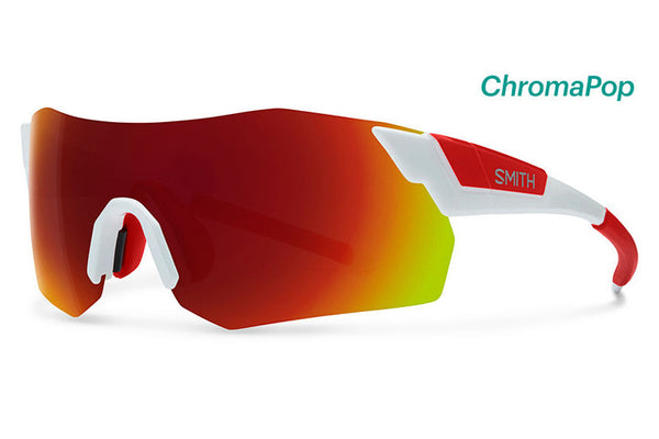 Smith - Pivlock Arena Max White Sunglasses, ChromaPop Sun Red Mirror Lenses