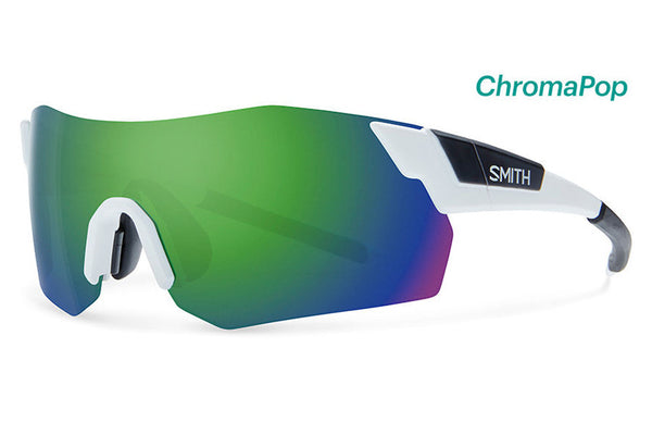 Smith - Pivlock Arena Max Matte White Sunglasses, ChromaPop Sun Green Mirror Lenses