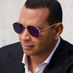 Quay Alex Rodriguez #QUAYXAROD Still Standing Gold Sunglasses / Blue Lenses