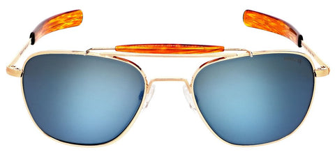 Randolph - Aviator II 55mm 23K Gold Bayonet Temple Sunglasses / SkyTec Polarized Cobalt Lenses