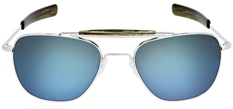 Randolph - Aviator II 55mm Bright Chrome Bayonet Temple Sunglasses / SkyTec Polarized Cobalt Lenses