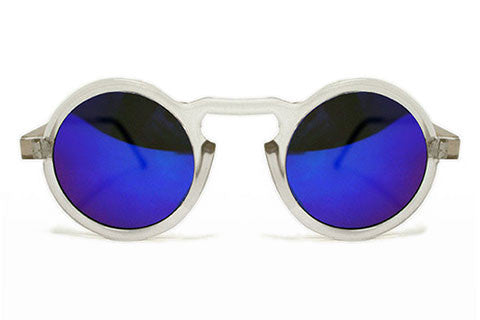 Spitfire - Aurora Clear & Gold Sunglasses, Blue Mirror Lenses