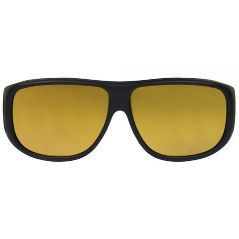 Jonathan Paul Fitovers - Aviator Matte Black Fitover Sunglasses / Polarvue Yellow Lenses