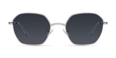 Meller - Adwin 44mm Silver Carbon Sunglasses / Black Polarized Lenses