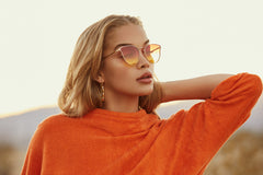 Quay All My Love Gold Sunglasses, Orange / Yellow Lenses