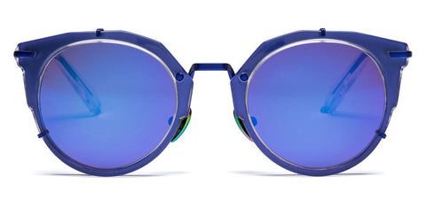 Westward Leaning - Sphinx 05 Polished Crystal Acetate Matte Blue Metal Sunglasses / Violet Mirror Lenses