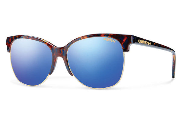 Smith - Rebel Flecked Blue Tortoise Sunglasses, Blue Flash Mirror Lenses