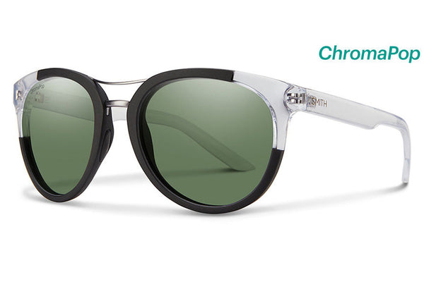 Smith Bridgetown Matte Black Crystal Block Sunglasses, ChromaPop Polarized Gray Green Lenses