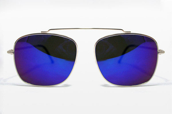 Spitfire - Beta Matrix Silver Sunglasses, Blue Mirror Lenses