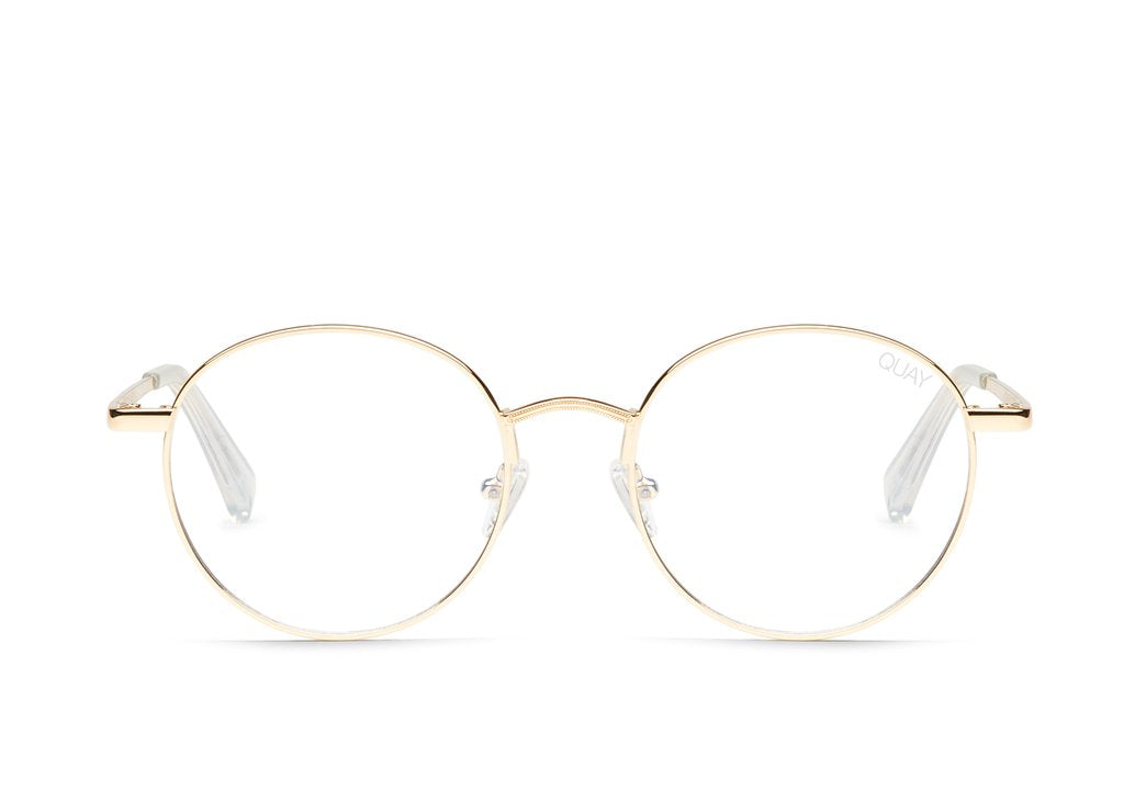 Quay I See You Gold Eyeglasses / Clear Blue Light Lenses