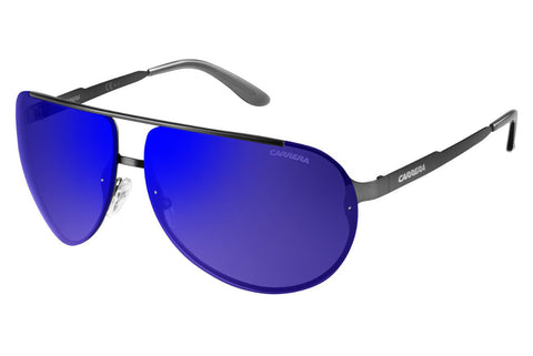 Carrera - 102/S Semi Matte Dark Ruthenium Sunglasses, Blue Sky Mirror Lenses