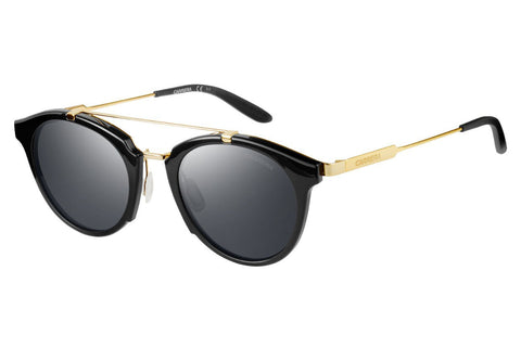 Carrera - 126/S Shiny Black Gold Sunglasses, Black Mirror Lenses
