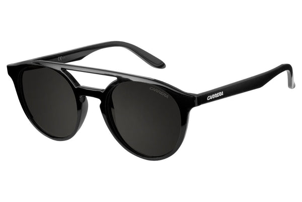Carrera - 5037/S Shiny Black Sunglasses, Brown Gray Lenses