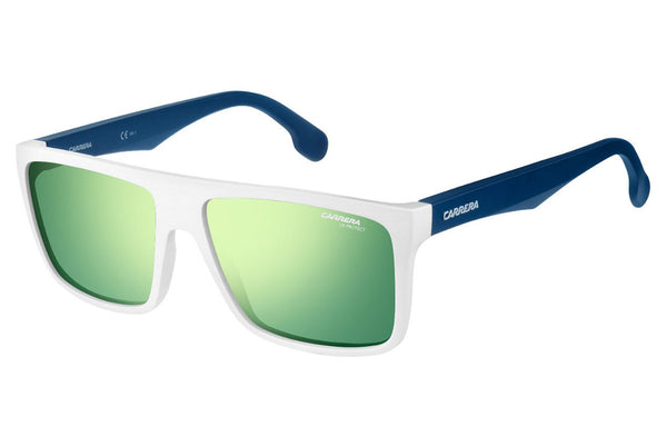 Carrera - 5039/S Matte White Blue Sunglasses, Green Lenses