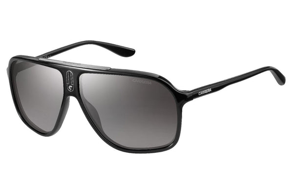 Carrera - 6016/S Shiny Black Sunglasses, Gray Mirror Shaded Silver Lenses