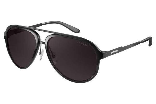 Carrera - 96/S Shiny Matte Black Sunglasses, Brown Gray Lenses