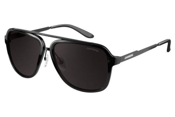 Carrera - 97/S Shiny Black / Black Sunglasses, Brown Gray Lenses