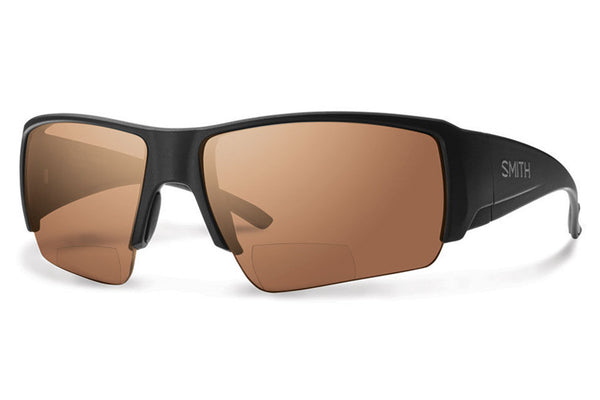 Smith - Captain's Choice Bifocal Matte Black Sunglasses, Polarized Copper Mirror 2.00 Lenses