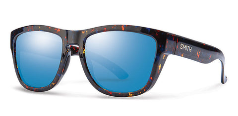 Smith - Clark Flecked Blue Tortoise Sunglasses, Blue Flash Mirror Lenses