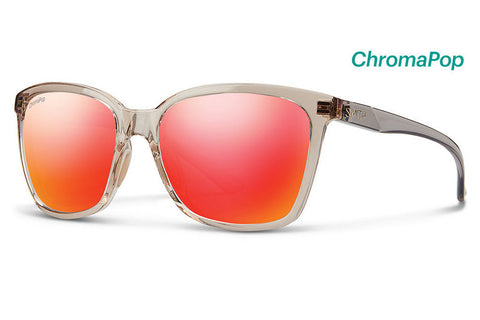 Smith - Colette Desert Crystal Smoke Sunglasses, ChromaPop Sun Red Mirror Lenses