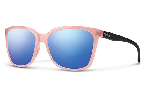 Smith - Colette Blush Matte Black Sunglasses, Blue Flash Mirror Lenses