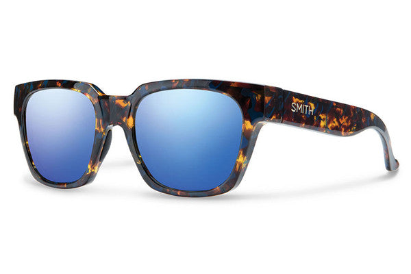 Smith - Comstock Flecked Blue Tortoise Sunglasses, Blue Flash Mirror Lenses