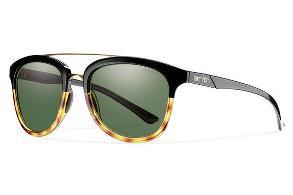 Smith Clayton Black Fade Tortoise Sunglasses, Polarized Gray Green Lenses