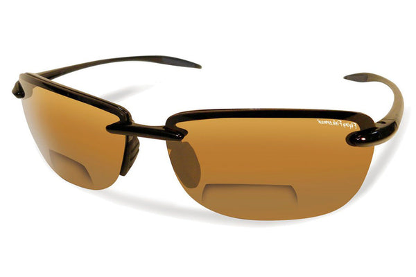 Flying Fisherman - Cali Bifocal Reader 7305BIF Matte Black Sunglasses, Amber Lenses