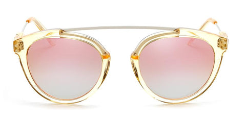 Westward Leaning - Flower 33 Polished Champagne Acetate Sunglasses / Rose Gold Gradient Mirror Lenses