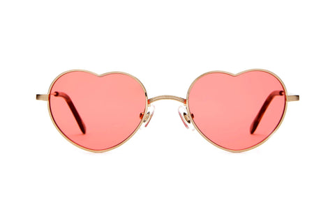 Crap Eyewear - The Doctor Love Brushed Gold Sunglasses / Deep Rose Lenses