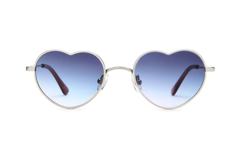 Crap Eyewear - The Doctor Love 46mm Brushed Silver Light Brown Demi Sunglasses / Sky Blue Gradient Lenses