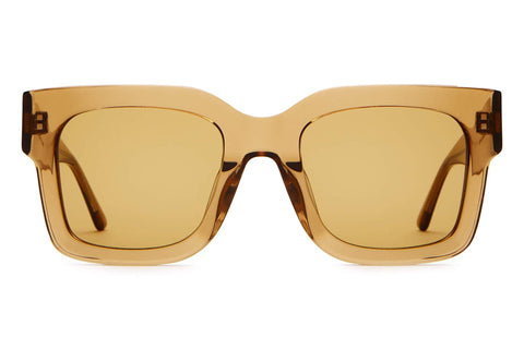 Crap Eyewear - The Downtown Purr Crystal Sand Sunglasses / Mustard Lenses