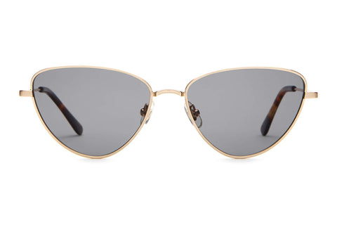 Crap Eyewear - The Honey Buzz Brushed Gold Dark Tortoise Sunglasses / Grey Polarized Lenses
