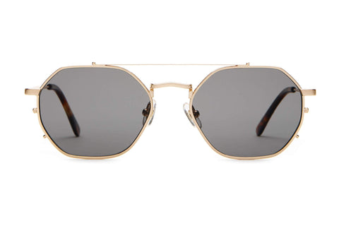 Crap Eyewear - The Jazz Safari Brushed Gold Dark Tortoise Sunglasses / Grey Polarized Lenses